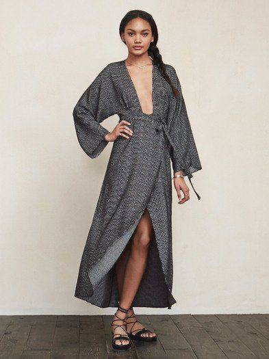 Imagine if you could look like the hottest lady in the room, whilst feeling like you're in the comfort of your own robe. Well the Amber Dress can do that for you. This is a medium weight woven maxi dress with a plunging V neckline, kimono sleeves and a tied wrap skirt. It's fitted at the waist but the rest is pretty relaxed.   https://www.thereformation.com/products/amber-dress-sala?utm_source=pinterest&utm_medium=organic&utm_campaign=PinterestOwnedPins