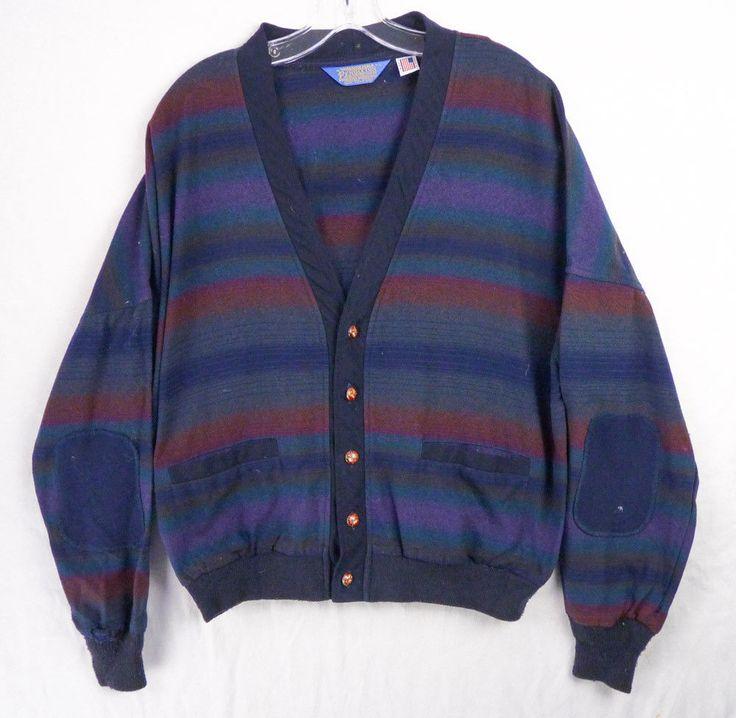 Vintage Pendleton Cardigan Sweater Jacket mens L Bold Stripes Elbow Patch V-Neck #Pendleton