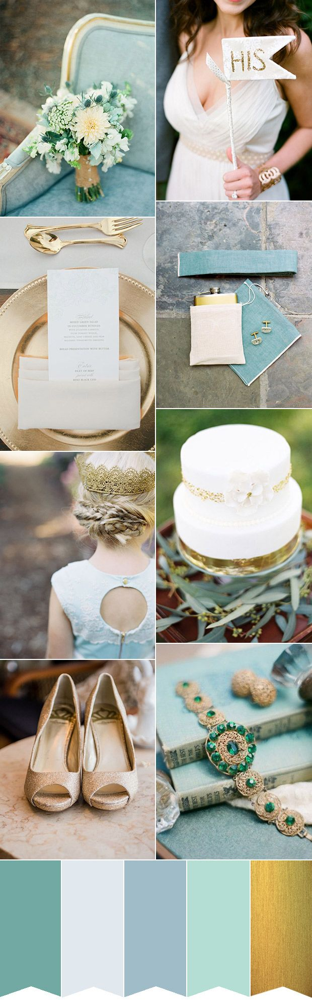 Combining gold, soft duck egg blue, teal and a little glitter you'll love this elegant and ethereal wedding color palette, perfect for late summer weddings.