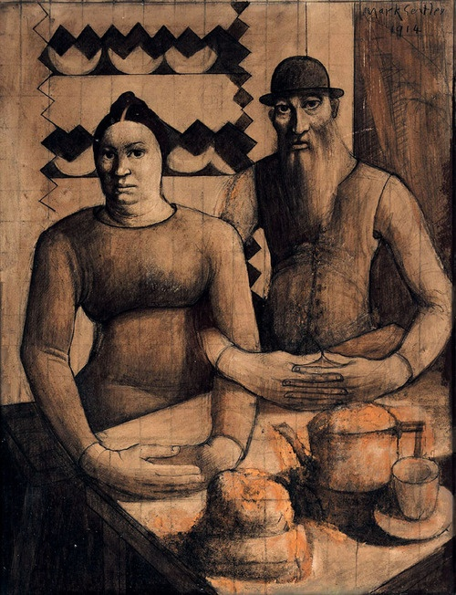 Mark Gertler (English, 1892-1939), Rabbi and Rabbitzin, 1914. Watercolour and pencil on paper, 50 x 39 cm. The Jewish Museum, London.