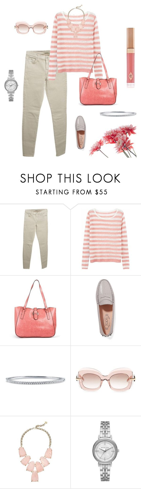 """""""Spring Style:  Salmon Pink"""" by lisakay1 on Polyvore featuring 7 For All Mankind, Ille De Cocos, New Directions, Tod's, BERRICLE, Pomellato, Kendra Scott and Michael Kors"""