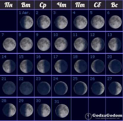 Лунный календарь фаз на август 2017 года - http://godzagodom.com/lunnyj-kalendar-na-avgust-2017-goda/