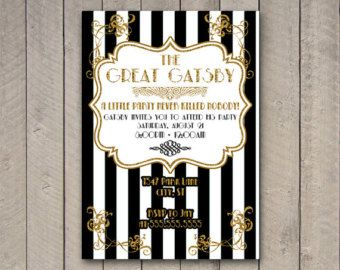 gatsby party invitation the great gatsby party invite gatsby party black and gold invitation - Gatsby Party Invitation