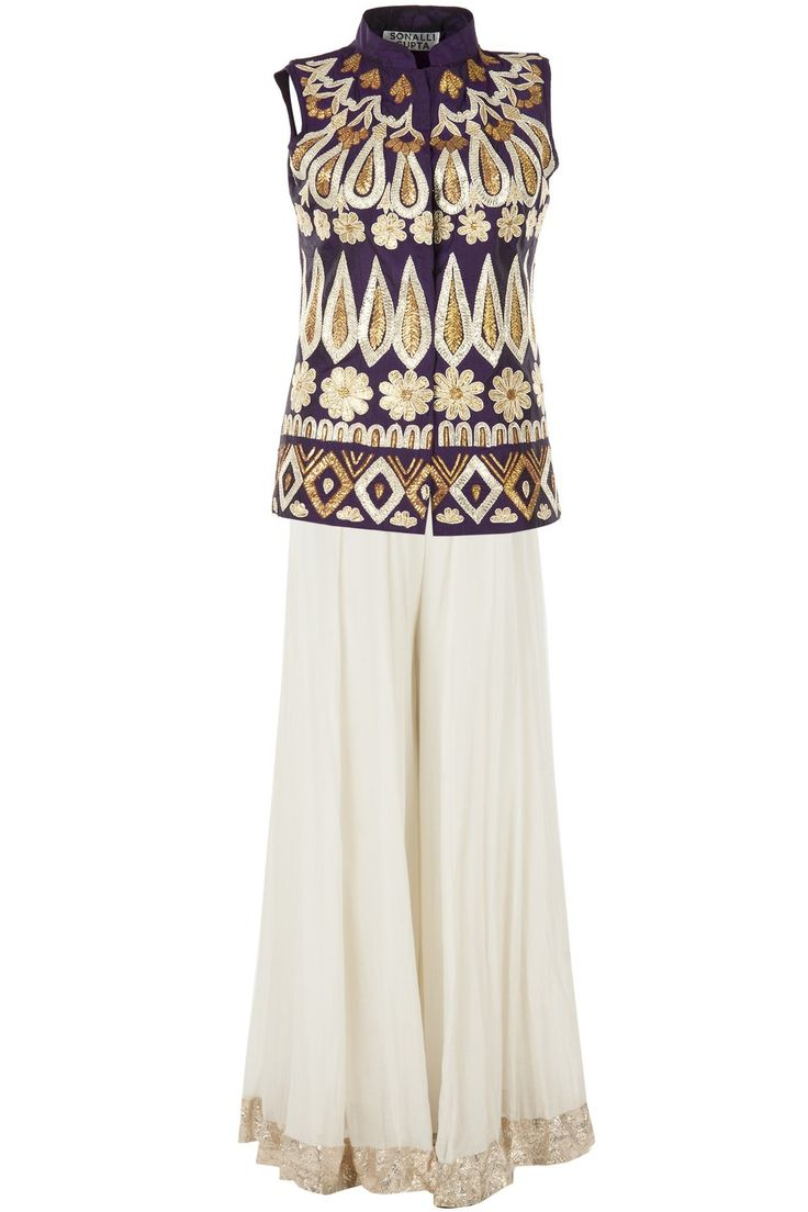 SONALI GUPTA Purple embroidered jacket with ivory sharara