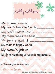 Handmade Gift for Mom - My Mom Printable Page
