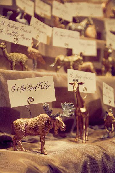 Animal Escort cards.  fancy animal name cards for a fancy dinner party?