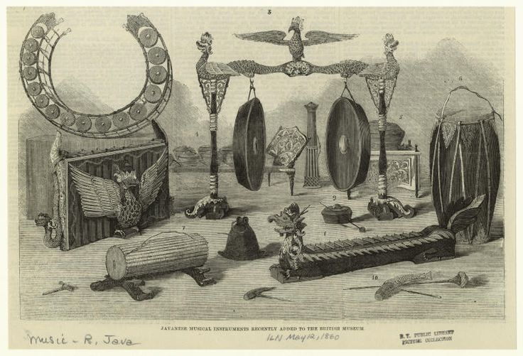 Javanese musical instruments recently added to the British Museum. (1860)