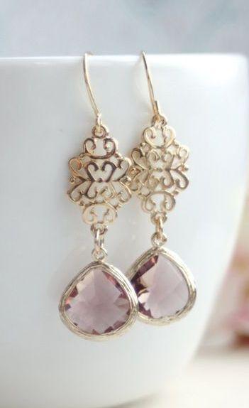 Plum Glass Filigree Gold Dangle Drop Earrings