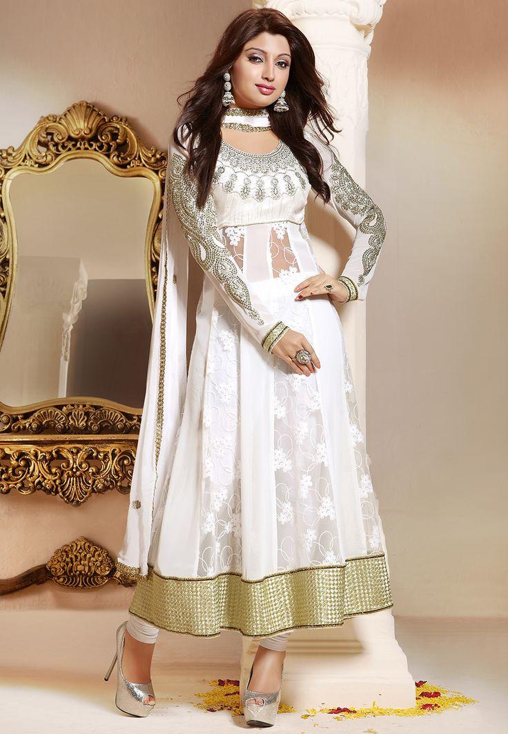 #AnarkaliSuit in White