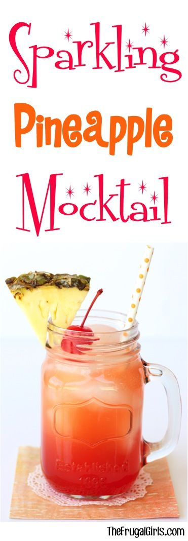 Craving a tropical refreshing drink? This Sparkling Pineapple Mocktail Recipe is the perfect combination of sweet with a splash of aloha!