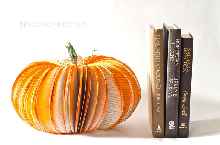 Large Book Page Pumpkin - Orange Halloween, Fall and Autumn Decor Upcycled from Old Books. $30.00, via Etsy.: Books Pages, Recycled Decor, Paper Pumpkin, Art Ideas, Altered Art, Thanksgiving Tables, Halloween Ideas, Happy Halloween, Old Books