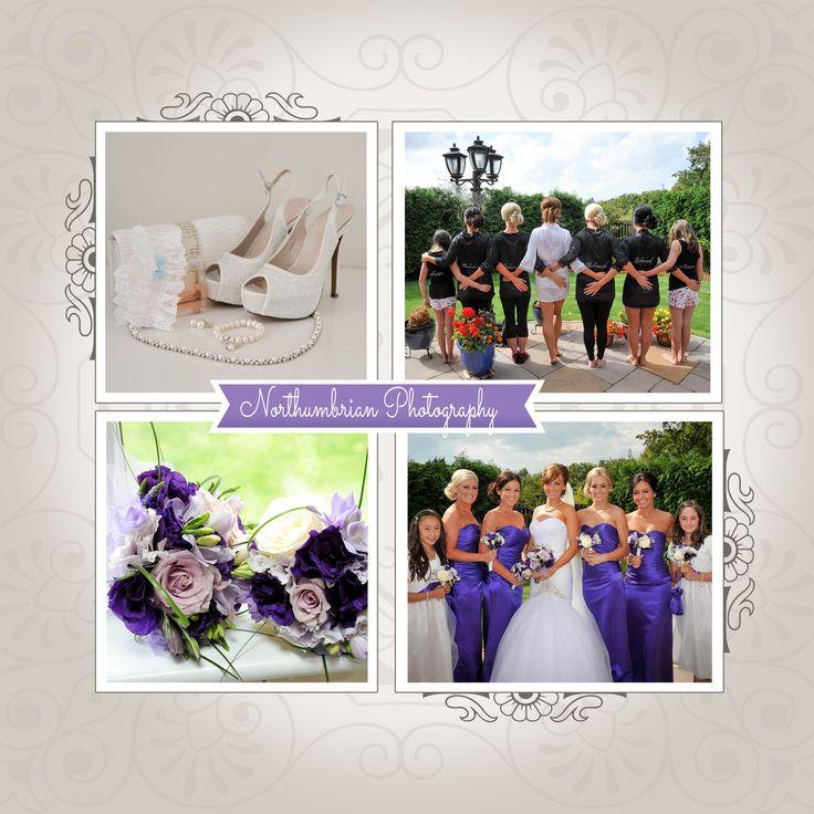 Bridal preparation photo's, beautiful wedding shoe's, purple bouquet & purple bridesmaid dresses