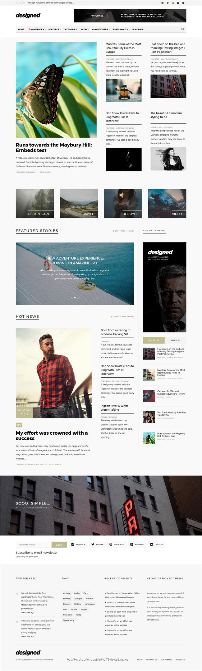 Designed is a elegant and minimalist design 7in1 responsive #WordPress theme for news, #blog, #magazine and newspapers website download now➩ https://themeforest.net/item/designed-magazine-newspaper-blog-wordpress-theme/19322769?ref=Datasata