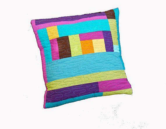 Modern geometric quilted cushion cover, pillow cover, modern home decor, pillow case, modern pillow, modern cushion, teal pink orange purple...