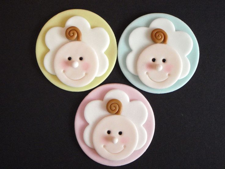 Baby Face Fondant Cupcake Toppers