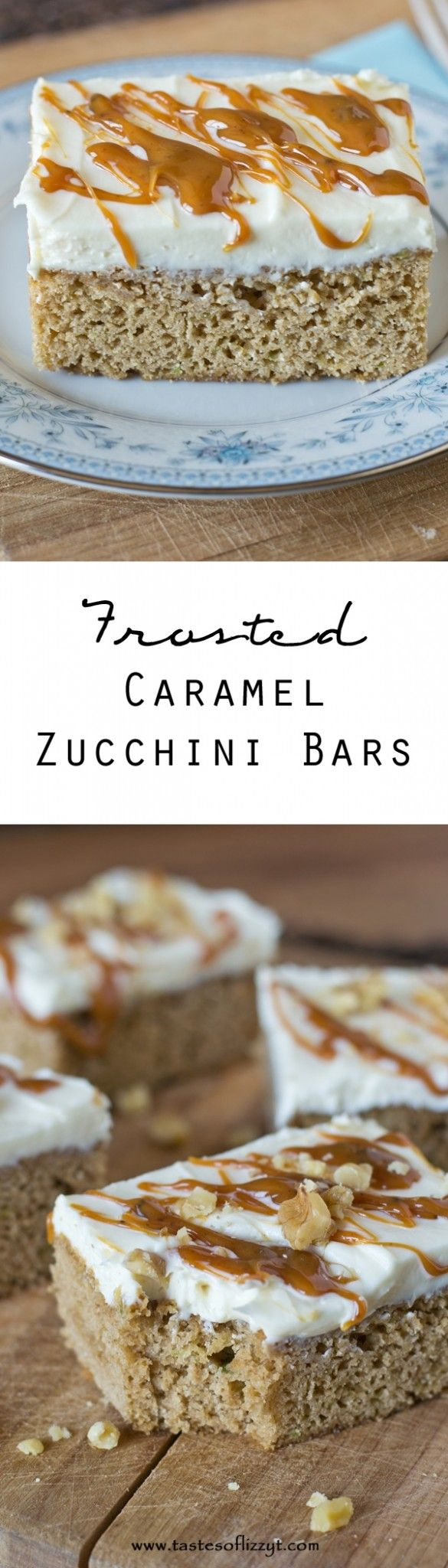 Frosted Caramel Zucchini Bars.  Use up some of your zucchini in these simple 5 ingredient cake mix bars. The caramel cake mix matches perfectly with the cream cheese frosting.