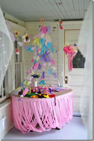 Crepe paper draped table skirt