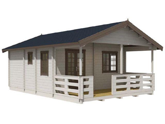 Cabaña de Madera TOLEDO con 2 habitaciones, comedor,sala, cocina y baño, con 46 m2 incluido el porche