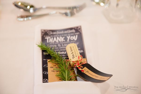wedding reception place cards and table settings gift for guests plant. Photography by The Arched Window.