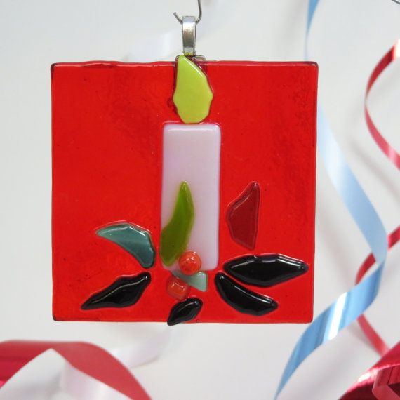 Red Candle Christmas Tree Ornament / Suncatcher
