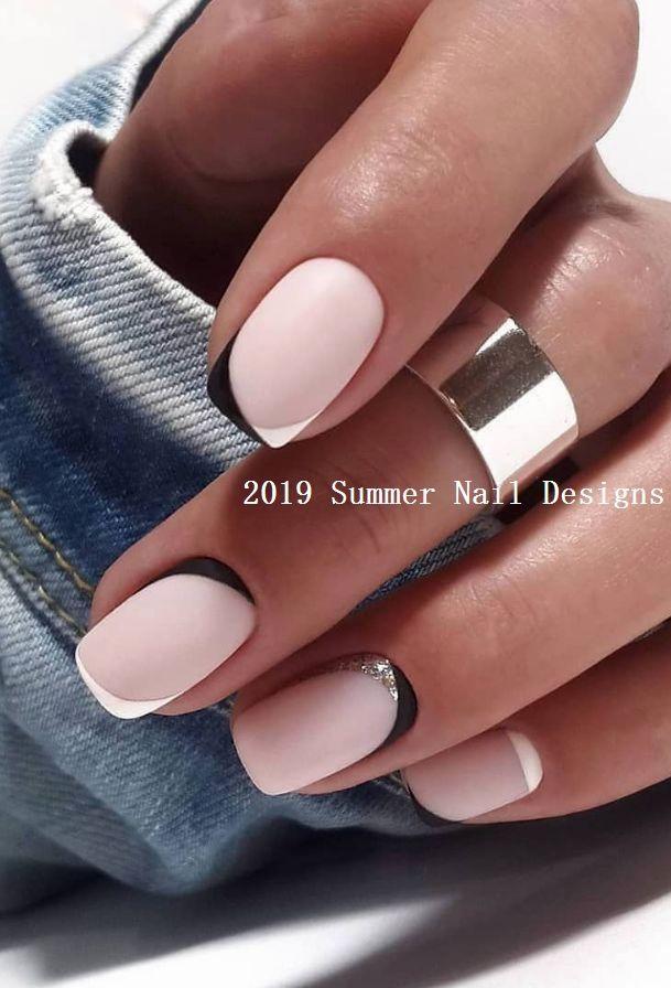 33 Cute Summer Nail Design Ideas 2019 Summernails Nail Short Square Nails Natural Nail Designs Square Nail Designs