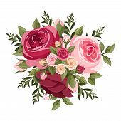 image of english rose - Vector bouquet of red - JPG