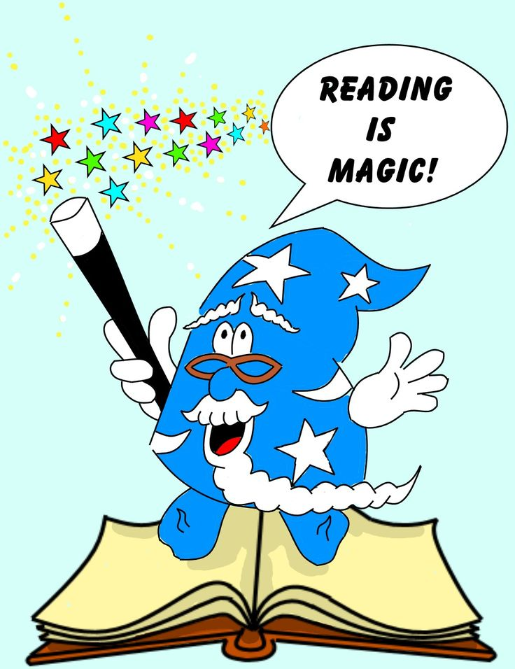 """""""Reading is Magic!"""" Hatricks the Magician jumps out of a book, magic stars sparkling from his wand."""
