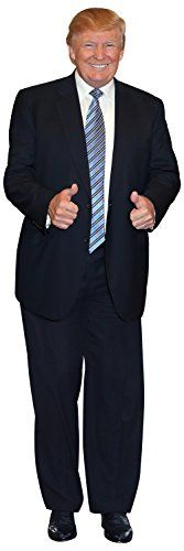 Aahs Engraving President Donald Trump Life Size Carboard Stand Up Aahs Engraving President Donald Trump Life Size Carboard Stand Up President Donald Trump Smiling and giving Two Thumbs Up Depicted Dressed in a Black Suit with a Striped Blue Tie 79 x 27 inches Funny Atmospheric Decoration