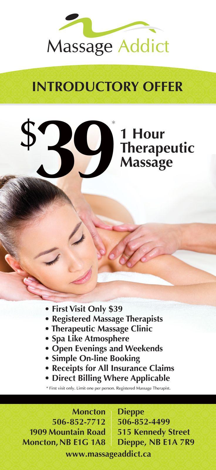 Massage Addict - Moncton & Dieppe Introductory Offer Rack Card  Design: Gino Caron