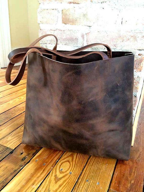 Dark Brown Leather Tote Bag  large brown leather bag  by sord