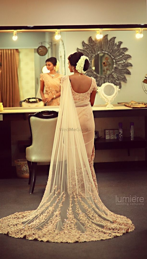 White Lace Saree With Train For South Indian Bride In 2020