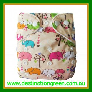 Modern Cloth Nappy - elephants, $14.95