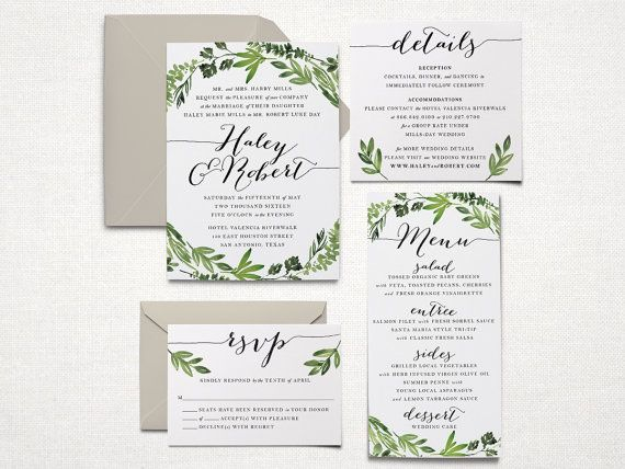 Printable Wedding Invitation Suite - Botanical Wreath - Watercolor Botanicals, Leaves, Herbs