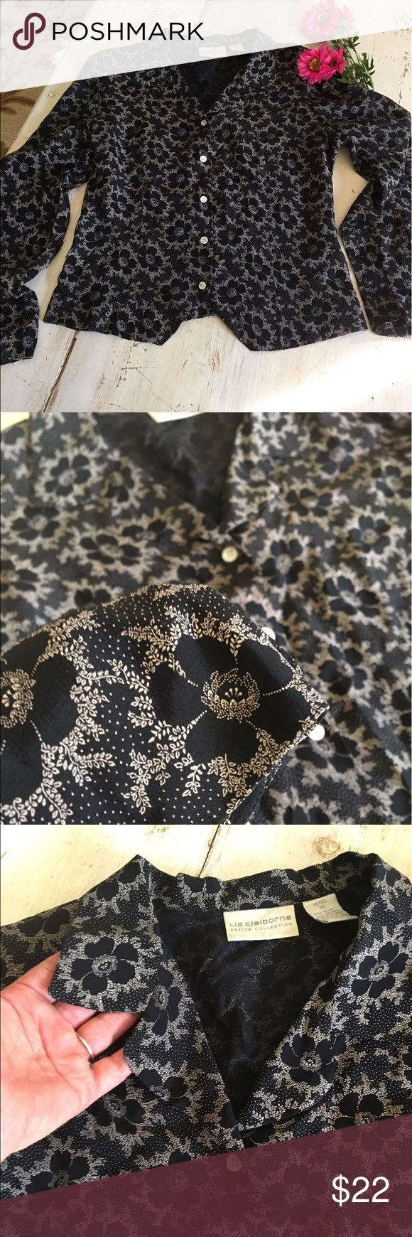 Liz Claiborne Petite Blouse Beautiful Liz Claiborne petite collection blouse size 10 in black and tan. Both feminine and classic looking. Liz Claiborne Tops Blouses