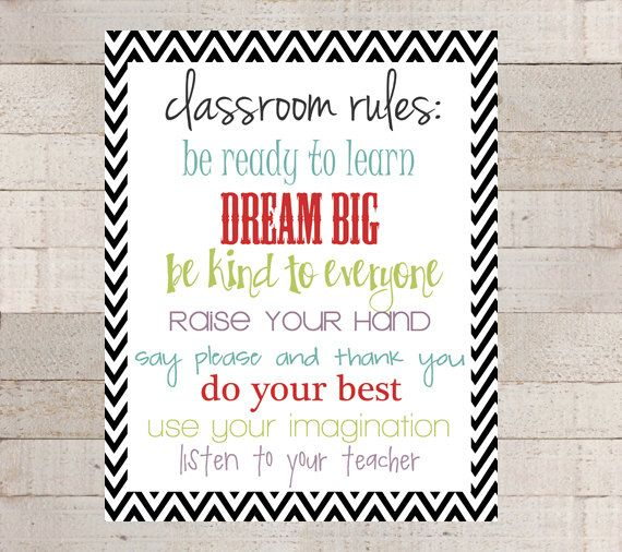 CLASSROOM RULES Black Chevron Classroom by myhappylifedesigns, $8.00