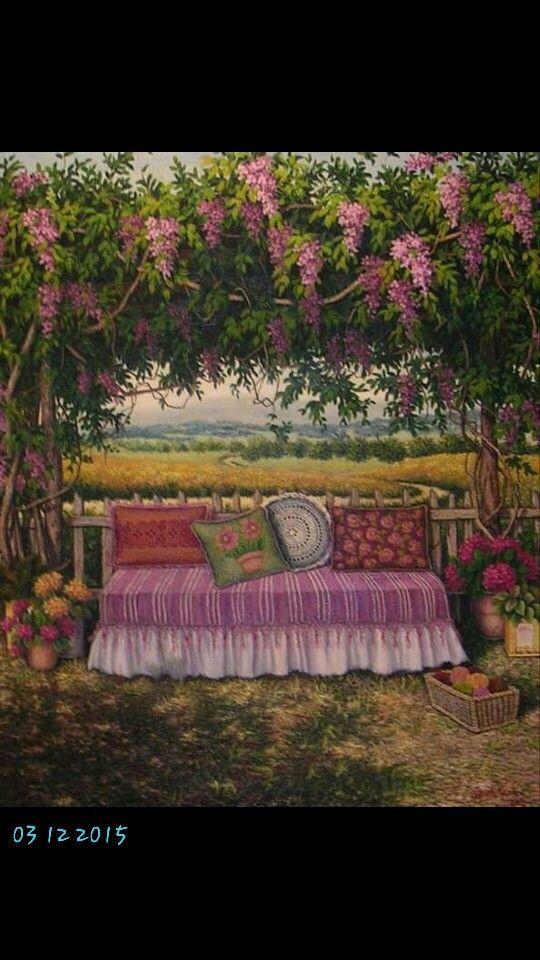 Gardens#flowers#oil painting#artist Günseli kapucu