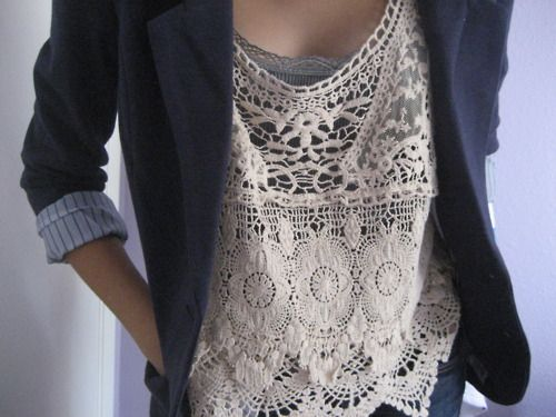 lace: Lace Tops, Fashion, Style, Outfit, Blazers, Crochet Top