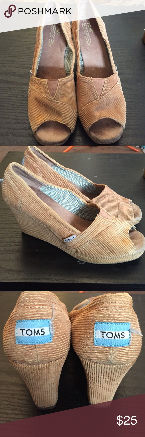 TOMS WEDGES Light brown coduroy toms wedges barely worn . Great soles inside and out. A little dirty inside where the open toed part . Feel free to ask any questions before making offers/purchases. Orders will be shipped within 32 hours of purchase. TOMS Shoes Heels