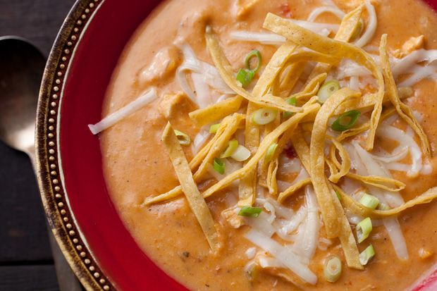 Chicken Tortilla Soup-what makes this soup so good is you thicken it by dissolving corn tortillas in it-I used corn chips and it was yumi.