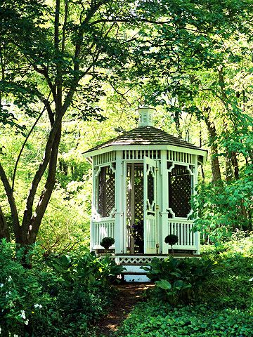 Try a Gazebo - This simple gazebo feels like it's in the middle of the woods -- even though it's in a tree-filled backyard just south of Boston. A structure like this makes a perfect, private getaway to enjoy some time for yourself -- or to host a small group of close friends.