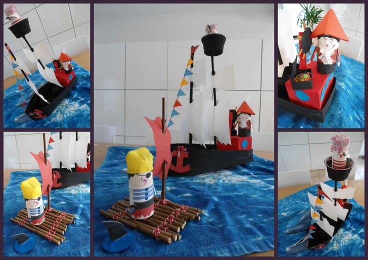 """Een leuk idee voor een verjaardagsfeestje...Samen een piratenboot en """"bende"""" maken. De boot blijft bij de jarige, de gasten nemen hun popjes mee naar huis als aandenken aan een leuke dag. Meer info: http://bien-knutseltrien.123website.be."""