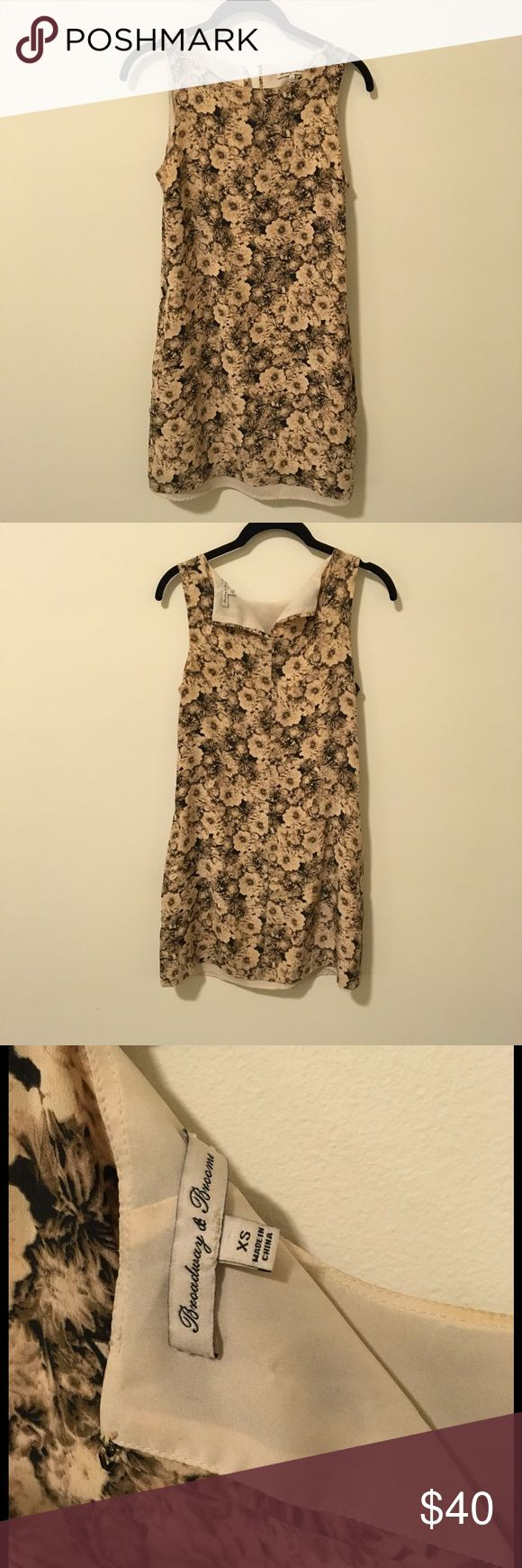 Broadway & Broome Sepia Silk Floral Shift Dress Broadway and Broome by Madewell floral silk dress with a sepia colored body and is sleeveless. Lined and is shifty -  the back button for the top closure is missing and can easily be replaced! Size extra small. Madewell Dresses Mini