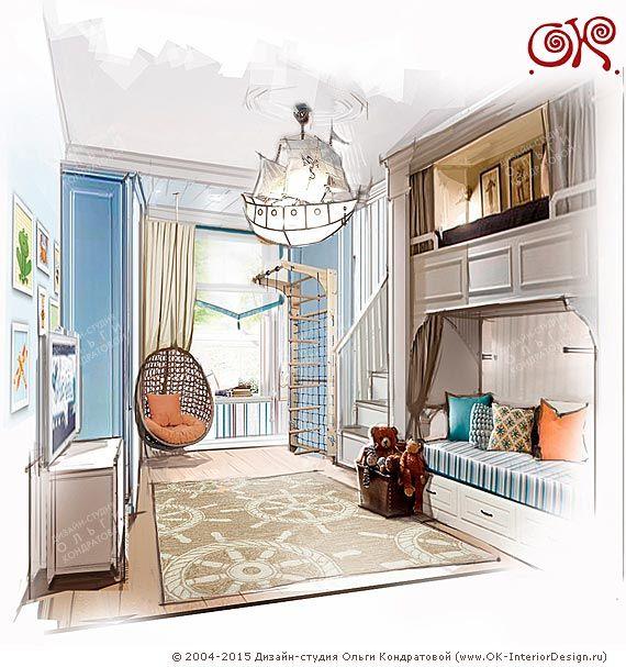 Дизайн детской комнаты для мальчика 12 кв. м.  http://www.ok-interiordesign.ru/blog/dizayn-detskoy-komnaty-dlya-malchika-12-kv-m-foto-2.html