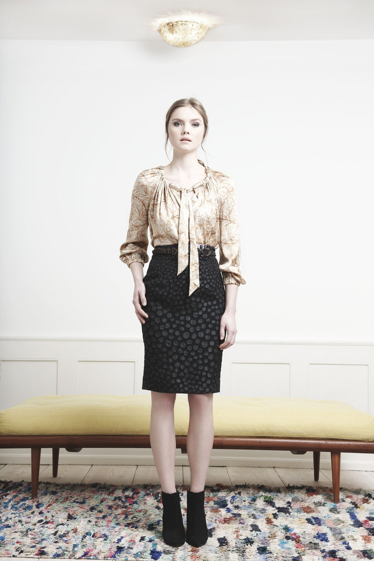 Rützou cream printed Mimosa silk blouse and black dotted pencil skirt