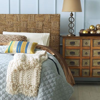 I think I finally want a headboard.  Posting some inspiration.  Seagrass Block Headboard.