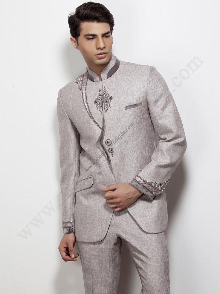Бежевый концертный / свадебный мужской костюм-двойка