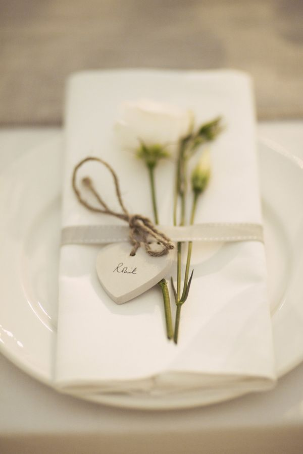 Charming place setting with heart name tags