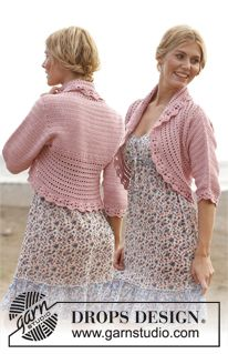 """Country Rose by DROPS Design  """"Like a fragile summer flower!""""  Crochet DROPS jacket in """"Cotton Light"""" and """"Glitter"""". Size S-XXXL."""