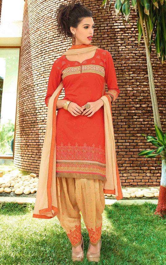USD 32.90 Salmon Cotton Punjabi Suit 48418
