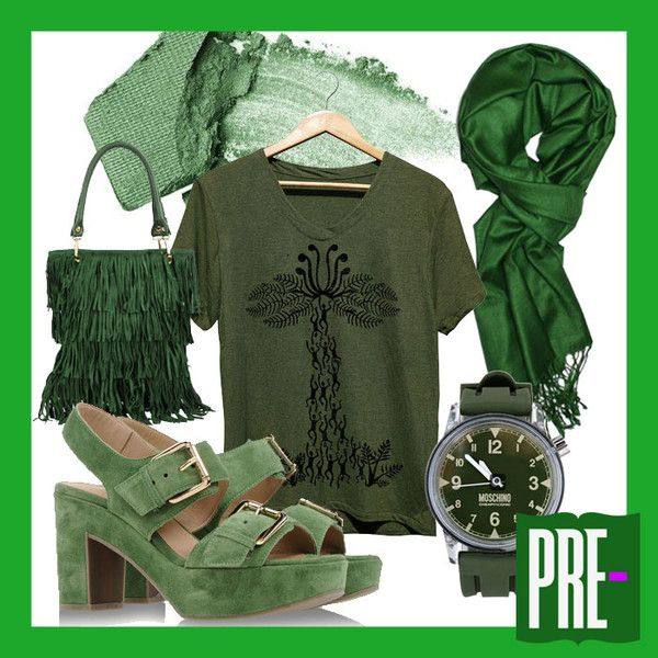 Featuring PRE- VOL. 3 -  Madagascar Man Eating Tree 1. LibbySue Bamboo Viscose Pashmina 2. Moschino CheapandChic Wrist Watch 3. L'autre Chose Sandals 4. George J. Love Handbag 5. Urban Decay Kush Eyeshadow